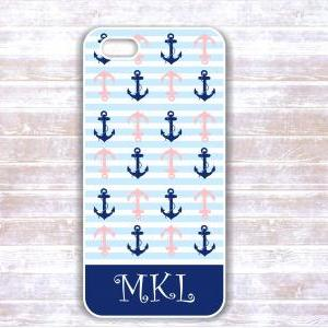 Iphone 4/4S case - White And Navy A..