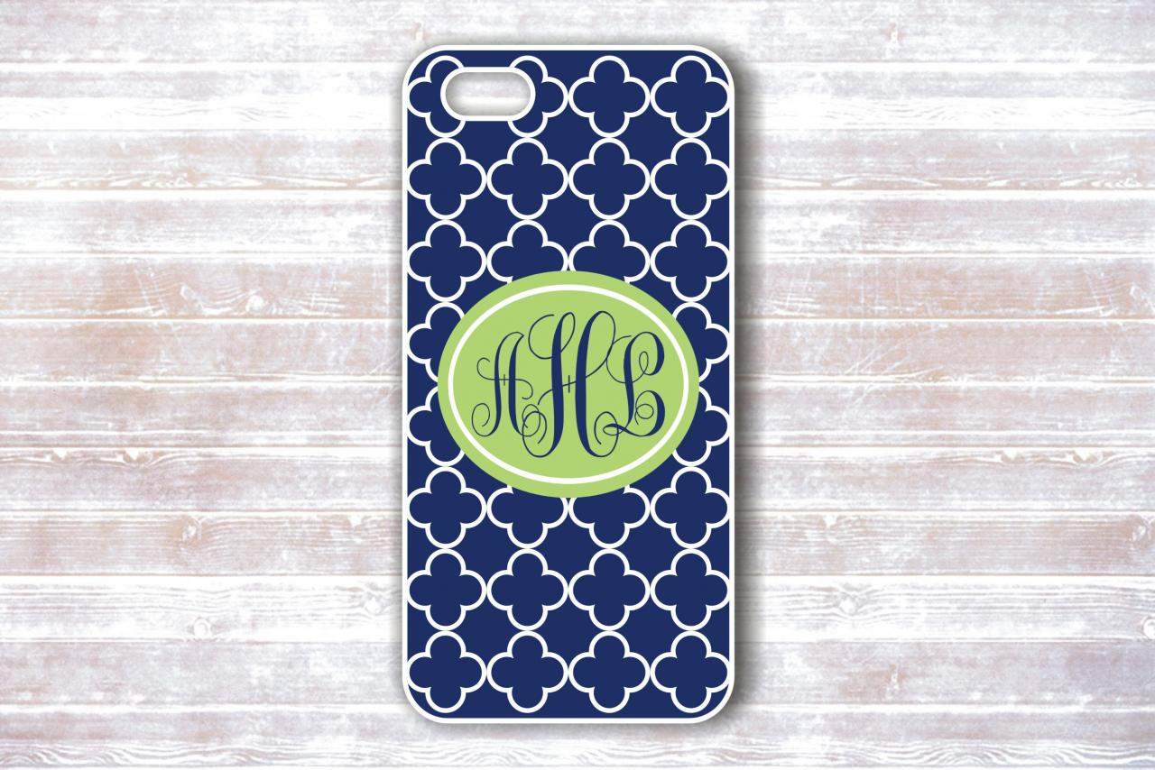 Monogrammed Iphone 4/4S Case - Blue Quatrefoil Light Green Monogram - Personalized Hard Cases for iphones
