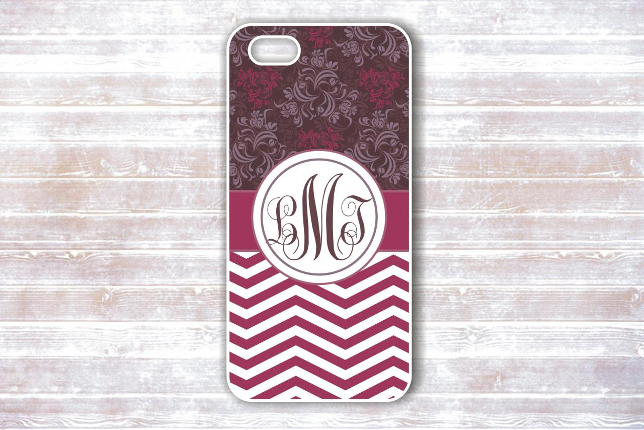 Monogrammed Iphone 4/4S Case - Violet Striped Floral patterns - Personalized Hard Cases for iphones