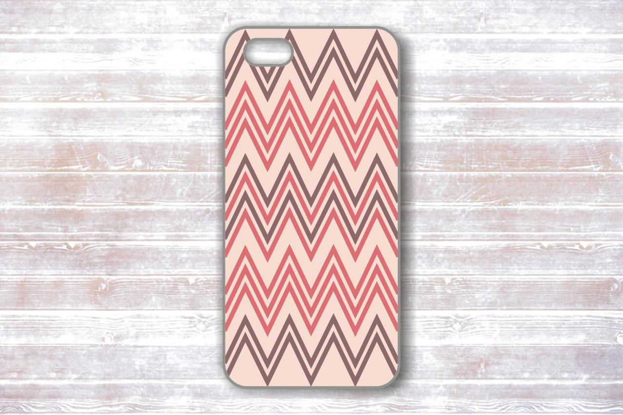 iPhone 4/4S Case - Pink And Gray Chevron - Unique Protective Covers for iPhones
