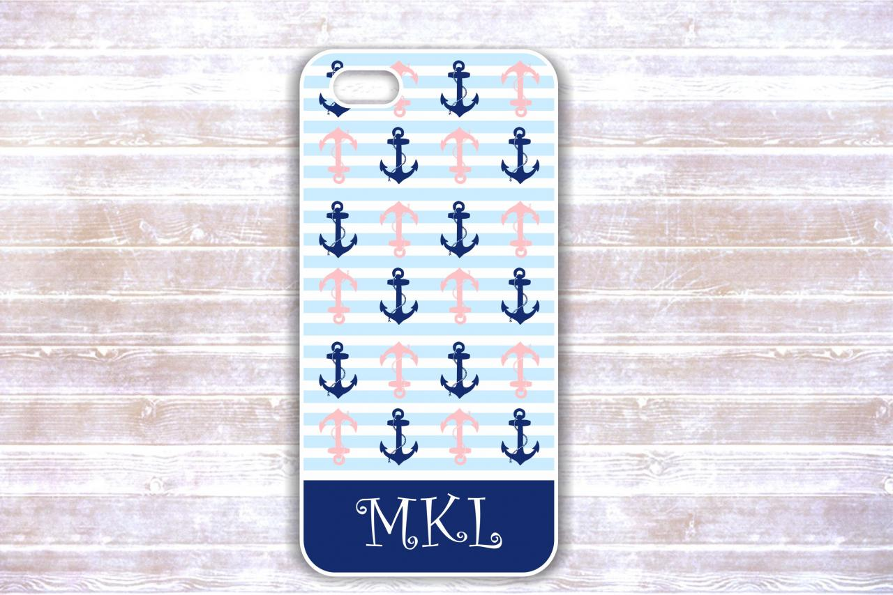 Iphone 4/4S case - White And Navy Anchors Monogram Striped Case Personalized iphone cover