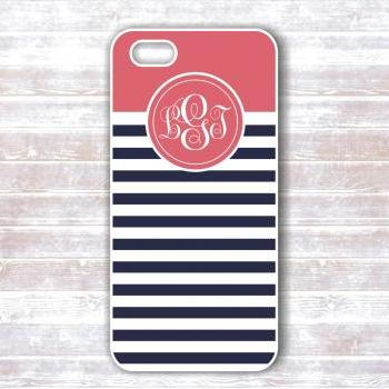 Monogram Iphone Case - Personalized navy and coral striped monogram iphone hard covers - IPhone Cases