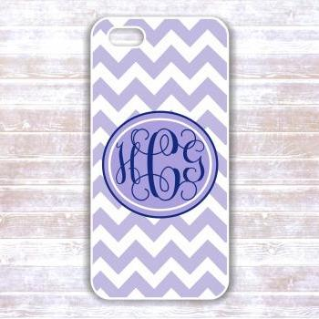 Monogrammed Iphone 5 case - Pink and Navy Chevron - Personalized Hard Cases for iphones