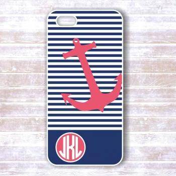 Monogrammed Iphone 4/4S Case - Pink Anchor, Navy Stripes - Personalized Hard Cases for iphones