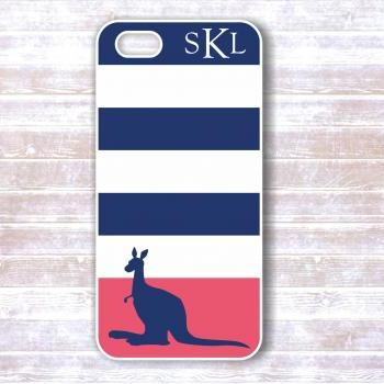 Iphone 4/4S case - Navy Blue and Pink Striped Kangaroo Personalized iphone cover IPhone cases
